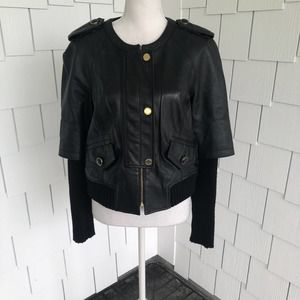 Tory Burch Black Leather Wentworth Jacket Size M